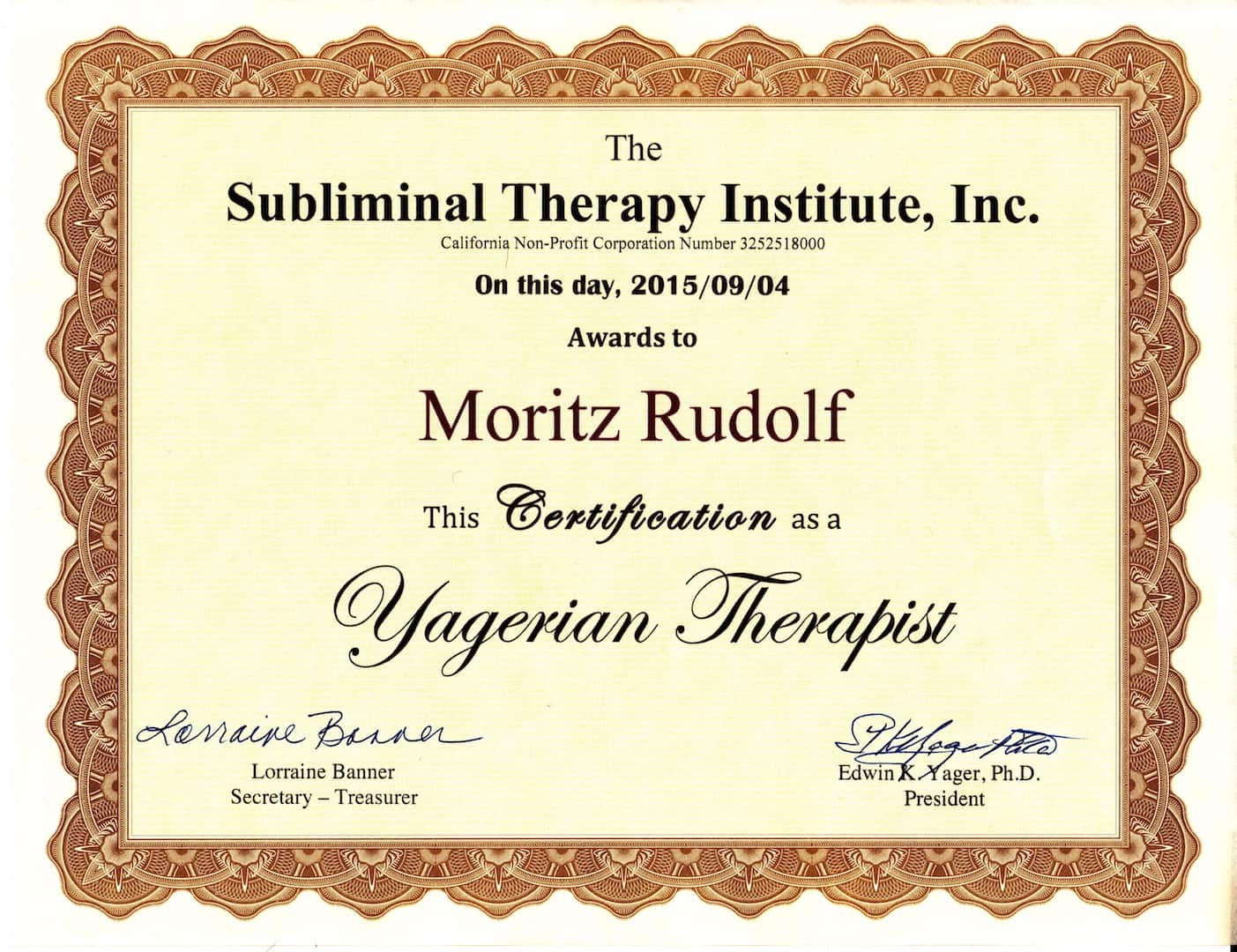 Cert. Yagerian Therapist NEW - Home